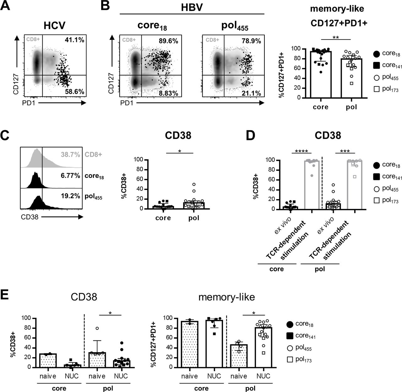 Phenotypic and functional differences of HBV core-specific